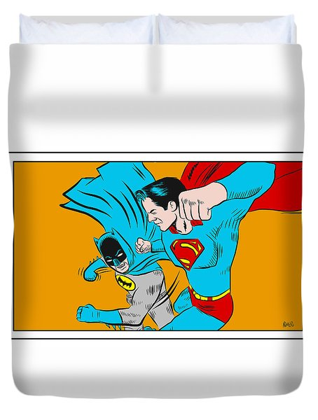 Retro Batman V Superman Duvet Cover