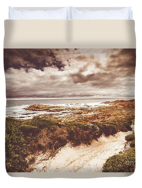 Retro Beach Tracks Duvet Cover