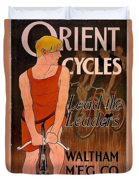 Duvet Cover featuring the photograph Retro Bicycle Ad 1890 by Padre Art