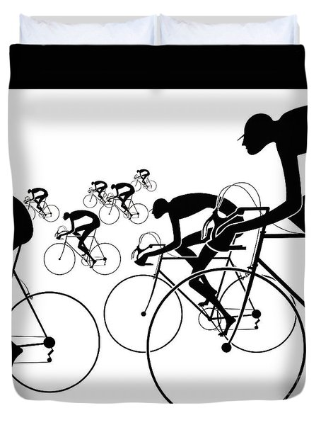Retro Bicycle Silhouettes 1986 Duvet Cover