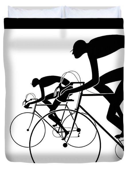 Duvet Cover featuring the photograph Retro Bicycle Silhouettes 2 1986 by Padre Art