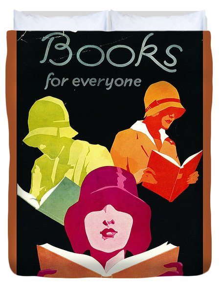 Duvet Cover featuring the photograph Retro Books Poster 1929 by Padre Art