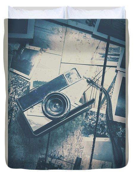 Retro Camera And Instant Photos Duvet Cover