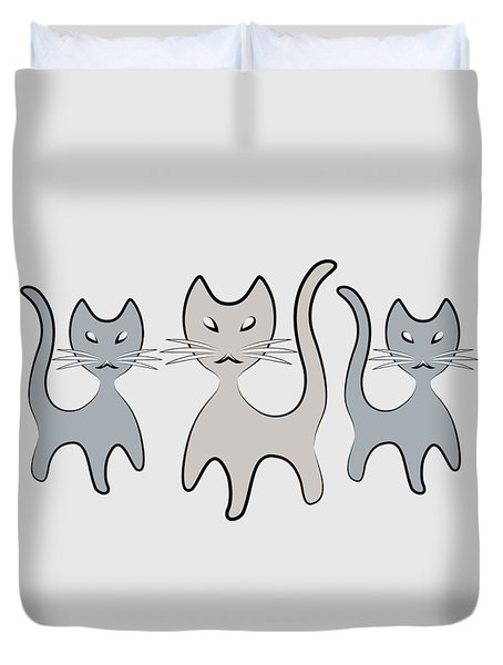 Retro Cat Graphic In Grays Duvet Cover