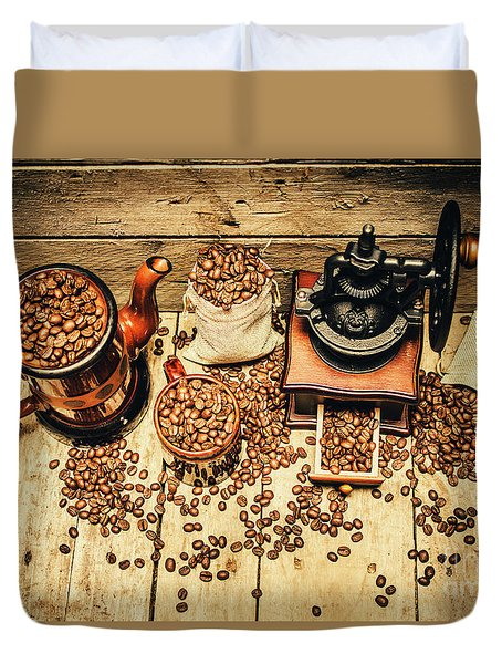 Retro Coffee Bean Mill Duvet Cover