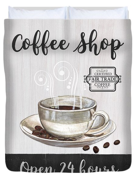 Duvet Cover featuring the painting Retro Coffee Shop 1 by Debbie DeWitt