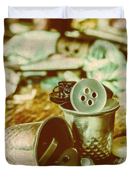 Retro Craft Buckets Duvet Cover