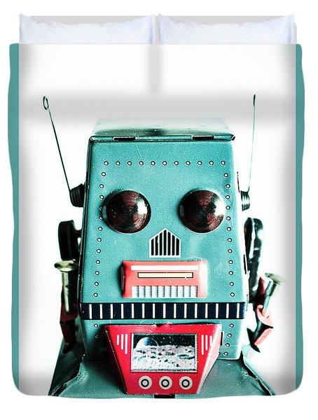 Retro Eighties Blue Robot Duvet Cover