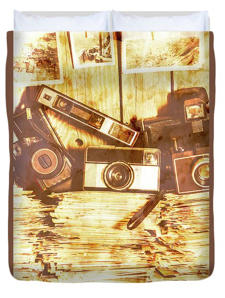 Retro Film Cameras Duvet Cover