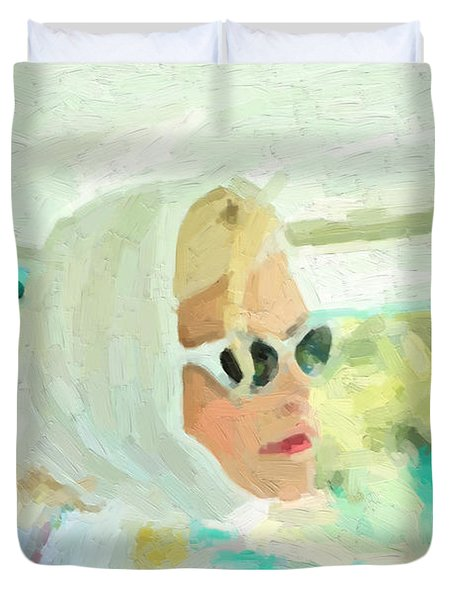 Duvet Cover featuring the digital art Retro Girl - Road Trip No.1 by Serge Averbukh