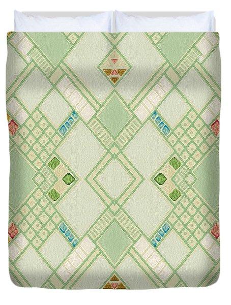 Duvet Cover featuring the digital art Retro Green Diamond Tile Vintage Wallpaper Pattern by Tracie Kaska