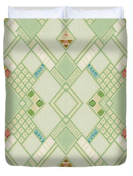 Retro Green Diamond Tile Vintage Wallpaper Pattern Duvet Cover