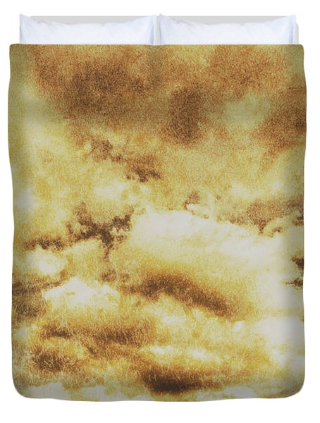 Retro Grunge Cloudy Sky Background Duvet Cover
