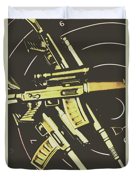 Retro Guns And Targets Duvet Cover