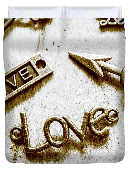 Retro Love Heart Jewels  Duvet Cover