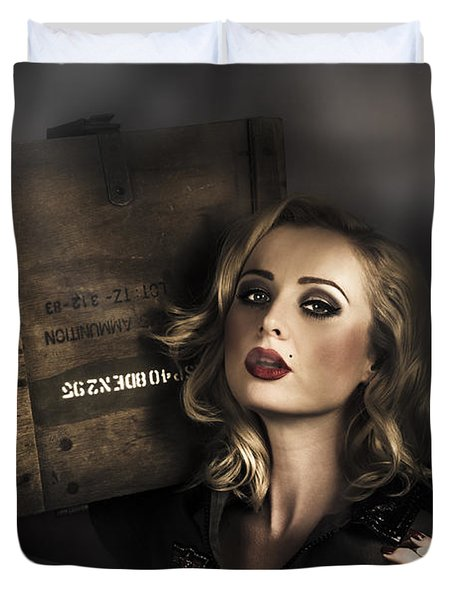 Retro Military Pinup Girl In Grunge Army Fashion Duvet Cover
