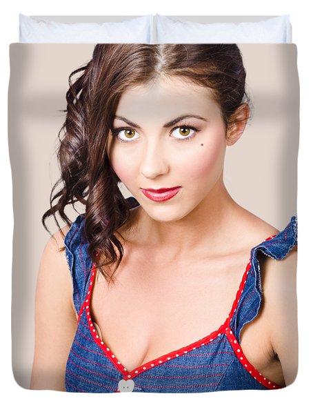 Retro Pin-up Girl In Blue Denim Dress Duvet Cover