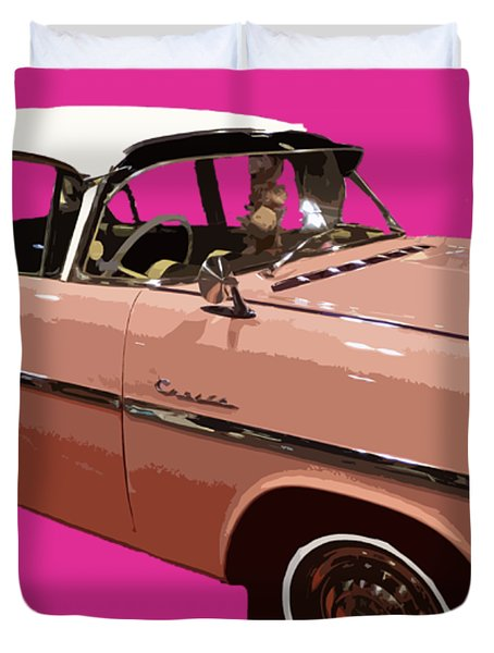 Retro Pink Car Art Duvet Cover