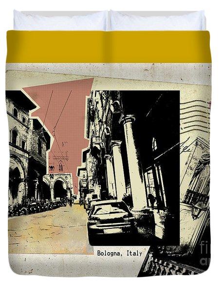 retro postcard of Bologna Duvet Cover