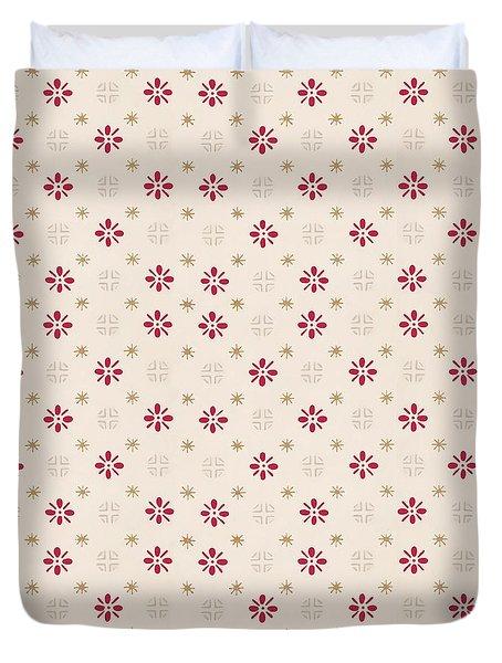 Retro Red Flower Gold Star Vintage Wallpaper Duvet Cover