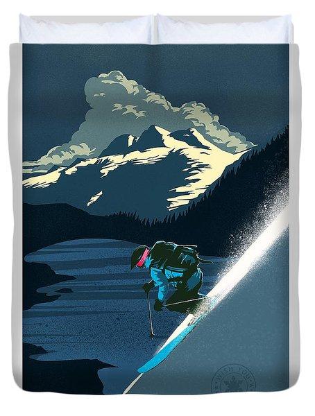 Retro Revelstoke Ski Poster Duvet Cover