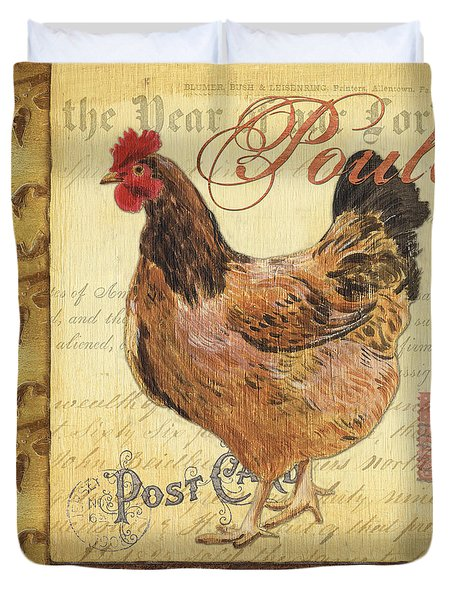 Retro Rooster 1 Duvet Cover