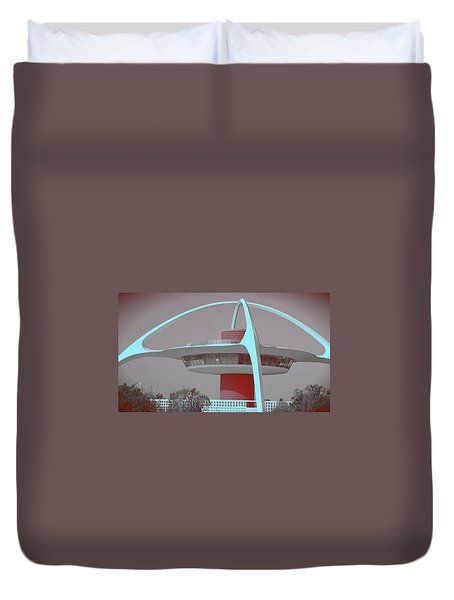 Retro Spaceship Aka La Airport Duvet Cover by Matthew Bamberg