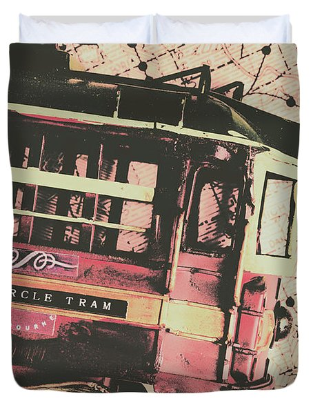 Retro Streets And Urban Trams Duvet Cover