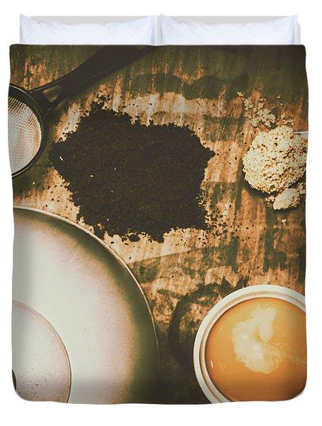 Retro Tea Background Duvet Cover