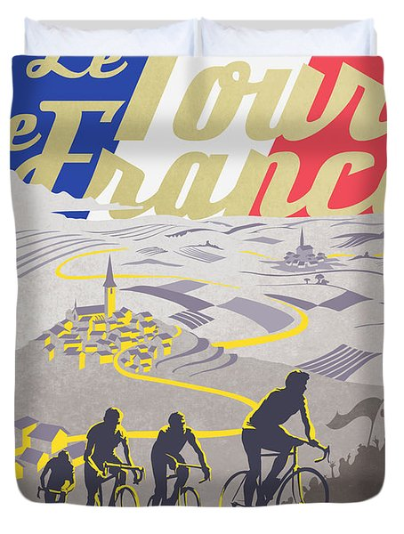 Retro Tour De France Duvet Cover