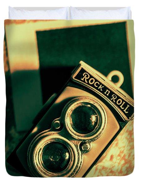 Retro Toy Camera On Photo Background Duvet Cover