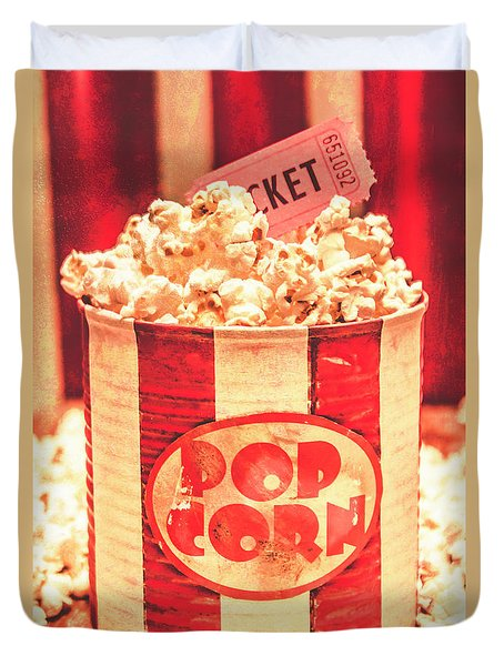 Retro Tub Of Butter Popcorn And Ticket Stub Duvet Cover
