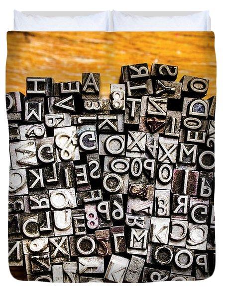 Retro Typesetting In Print Duvet Cover