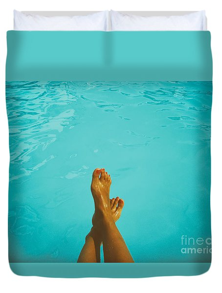 Retro Young Girl Relaxing Her Feet At Swimming Pool Duvet Cover