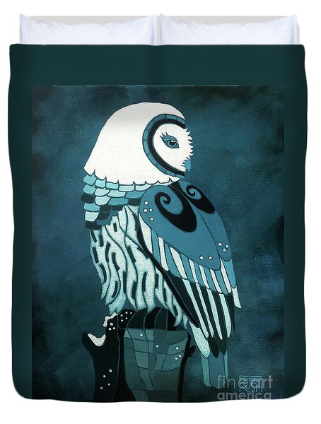 Retrospect In The Moonlight Owl Duvet Cover