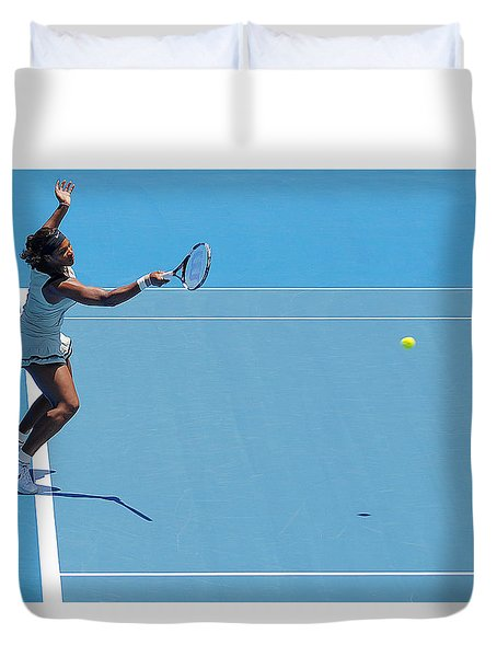 Return - Serena Williams Duvet Cover by Andrei SKY