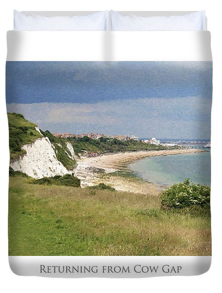 Duvet Cover featuring the digital art Returning From Cow Gap by Julian Perry