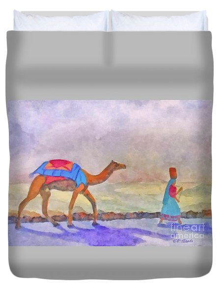 Duvet Cover featuring the painting Returning From Market by Elizabeth Coats