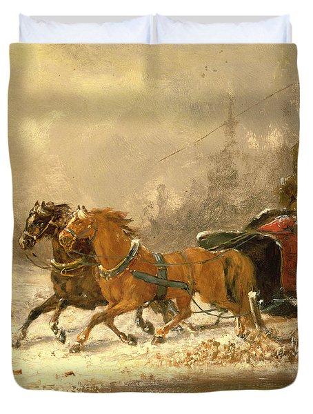 Returning Home In Winter Duvet Cover by Charles Ferdinand De La Roche