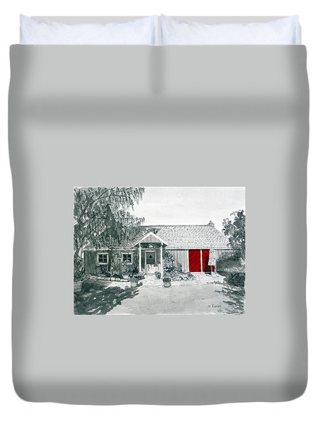 Retzlaff Winery With Red Door No. 2 Duvet Cover