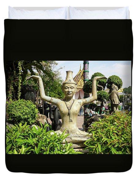 Reusi Dat Ton Statue At Famous Wat Pho Temple Duvet Cover