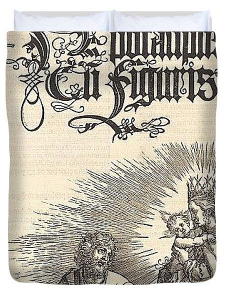 Revelation - The Title Page Of The 2nd Edition Of The Latin-i Durer Engravings Duvet Cover