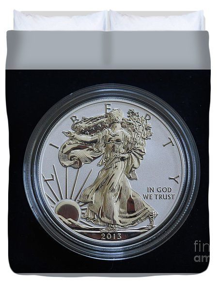 Duvet Cover featuring the digital art Reverse Proof Silver Eagle Dollar Coin by Randy Steele