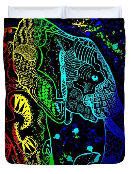 Rainbow Zentangle Elephant With Black Background Duvet Cover