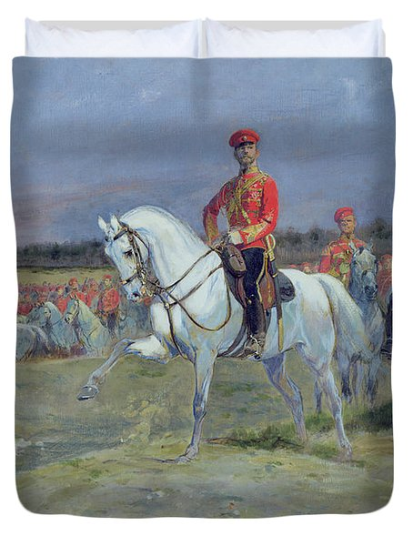 Reviewing The Troops Duvet Cover by Jean Baptiste Edouard Detaille