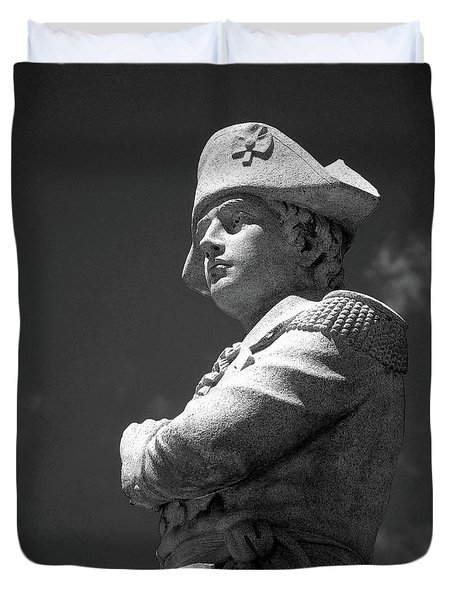 Revolutionary War Soldier In Bw Duvet Cover