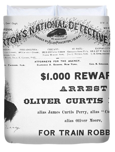 Reward Poster For The Arrest Of Oliver Perry Issued  Duvet Cover by American School