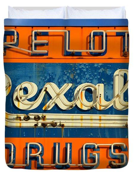 Rexall Drugs Sign 1940s Duvet Cover