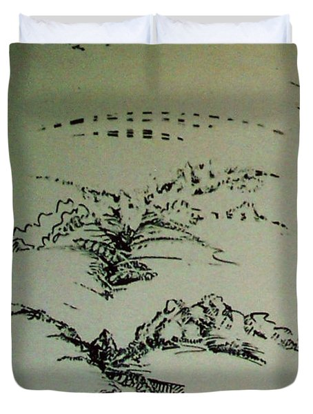 Duvet Cover featuring the drawing Rfb0209 by Robert F Battles
