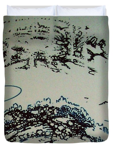 Duvet Cover featuring the drawing Rfb0210 by Robert F Battles